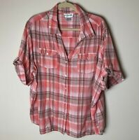 C.D. Daniels Women's Shirt Size 2X Top Short Sleeves Cotton Plaid Casual Pink