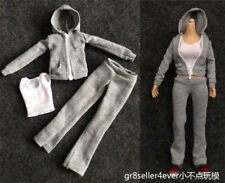 1:6 Female Outfit Grey zipped hoodie women girls Sports Clothing shirt Suit Set