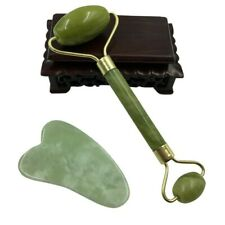 Facial Jade Stone Roller & Gua Sha Stone fr Beauty Massage Tool Face Body Neck