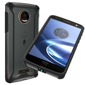For Motorola Moto Z Force Droid Case Rugged Shockproof TPU Clear Cover Black