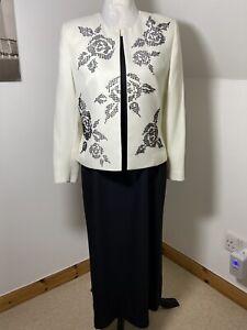 Condici Size 12  Black & Cream Sleeveless Dress & Jacket Beaded Floral VGC