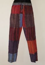 Nepalese Stripe Patchwork Cotton Yoga/Lounge Trousers Unisex M/L (TPW8)