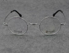Deluxe IP titanium 44mm Round Eyeglass Frames Silver Spectacles Vintage Glasses