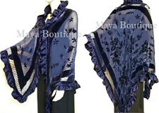 Navy Blue Shawl Scarf Wrap Silk Burnout Velvet Triangle Ruffles Maya Matazaro