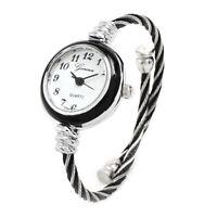 2Tone Black Silver Cable Band Geneva Women's Petite Bangle Cuff Watch