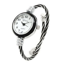 2Tone Black Silver Cable Band Geneva Women's Petite Bangle Cuff Watch