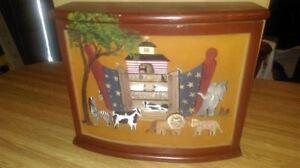 Noah's Ark Wood Decorative Shelf with Door