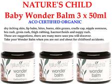 3 x 45g NATURE'S CHILD Wonder Balm Baby Nappy Rash Cradle Haemorrhoid Enzema