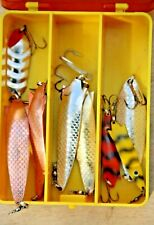 Lure box with assortment of used ABU ' Sweden' Toby lures plus Koster and Atom