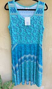 LULAROE NICKI  DRESS NWT XL Sea Foam Green & Aqua Print Beautiful CLEARANCE
