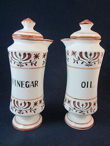 Vintage Hand Painted Glazed Ceramic Oil & Vinegar Cruet Set