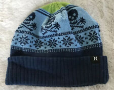 Hurley Blue Skull & Crossbones Winter Knit Ski Cuffed Hat Cap Cotton & Acrylic