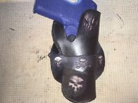 Handmade Leather RH Cross Draw Gun Holster & 2 mag pouches Auto S&W M&P Ruger