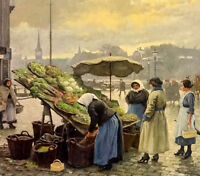 Perfect Oil paul gustave fischer - at the vegetable market & women figures art