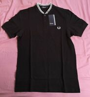 Fred Perry Men's Black Bomber Collar Polo Shirt Size S Small New With Tags