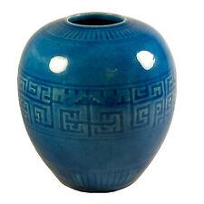 Chinese Porcelain Blue Turquoise Glazed Incised  Decorated Vase - Qing Dynasty