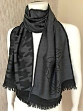 VERSACE BLACK & GREY DEGRADE HOUNDSTOOTH & MEDUSA HEAD SCARF MADE IN ITALY