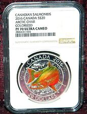 2016 CANADA $20 SALMONIDS ARCTIC CHAR COLORED SILVER COIN  NGC PF 70 ULTRA CAMEO