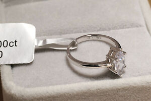 1.00Ct Diamond Marquise Cut Solitaire Engagement Ring 18K White Gold Over Women