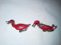 Pair of Red Vintage Duck / Mallard Pins Brooch