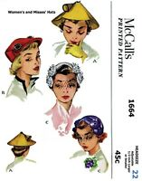 """McCall's #1664 UNIQUE Hats Caps Fabric Sewing Pattern Chemo Alopecia 22"""" Vintage"""