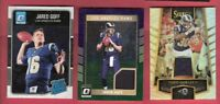 JARED GOFF ROOKIE JERSEY & RC CARD + TODD GURLEY WORN JERSEY REFRACTOR LA RAMS