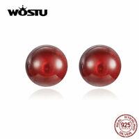 925 Sterling Silver Earrings Stud Red Garnet Women Fashion Ear Stud Jewelry NEW