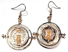 Harry Potter Hermione Time Turner Necklace rotating gold hourglass EARRINGS 3B