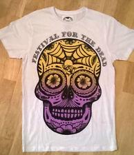 SKULL White T-Shirt, Festival For The Dead,  Size Small, Medium, NEW
