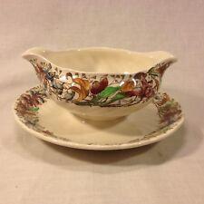 "Vintage Royal Doulton ""Tintern"" D.5609 Orchids Pattern Round Gravy Boat"