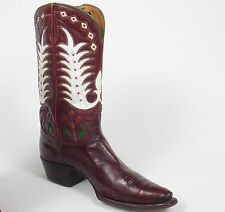 50's Tony Lama Cowboy Boots - Men's 8.5D Vtg Brown Mahogany Inlaid Cloth Pulls