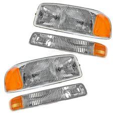 Headlight Headlamp & Corner Parking Lights Set Kit for GMC Sierra Truck Yukon