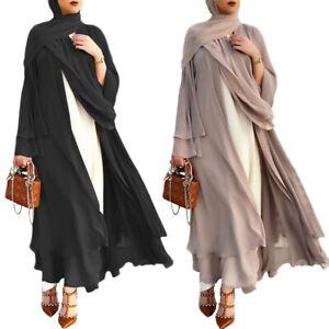 Ramadan Muslim Women Open Kimino Abaya Maxi Dress Dubai Kaftan Cardigan Robe