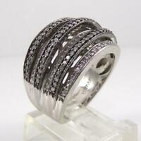 Sterling Silver 0.50ctw Diamond Cluster Wide Multi Band Ring Size 7.5 LFJ3