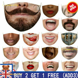 Unisex Funny 3D Printed Face Mask Breathable Washable Mouth Protection Reusable+