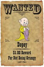 "DOPEY WANTED POSTER FRIDGE MAGNET. 3.5"" X 5"". DISNEY. GRUMPY....FREE SHIPPING"