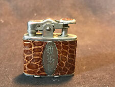 Old Vtg 1928 Ronson Delight Cigarette Lighter Leather Wrapped W/Initials WEP