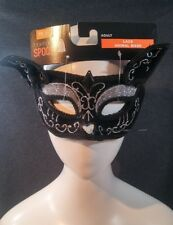 Adult Cat Mask Black Velvet with Silver Glitter & Jewel Accents Masquerade