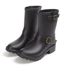 Fashion Women's Rain Boots Mid-Calf boot casual hunting Rubber shoes Black Brown