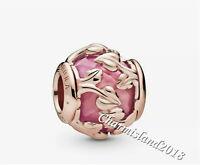 Authentic Pandora Charm 788238SSP  Rose Gold Pink Decorative Leaves Bead #Z
