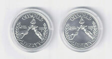 """TWO US 1988 """"OLYMPIAD"""" SILVER DOLLARS in ORIG CAPSULES - One UNC. and One PROOF!"""