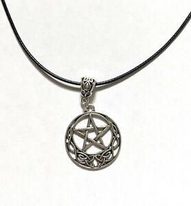 Black cord pentagram necklace wiccan jewellery gothic jewellery Halloween jewell