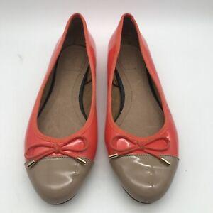 Next Pumps Wide Fit Orange Retro Ballet Shoes Bow Flat UK 6W EUR 39 NEVER WORN