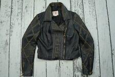 VERSACE For H&M Black Biker Gold Studded Zipper Leather Jacket EUR 38 US 8 UK 12