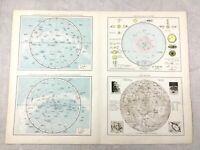 1895 Astronomy Map of Star Constellations Lunar Moon Solar Antique 19th Century