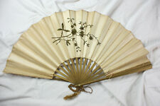 Vtg Antique Hand Fan Cream Silk w/ Gold Bullion Embroidery Victorian Wood Spokes