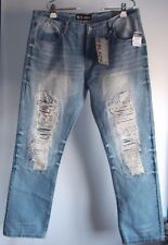 Black Brand Blue Jeans 36x32 Slim Rue 21 Distressed Ripped NWT Cotton Poly Blend