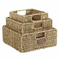 VonHaus Set of 3 Square Seagrass Storage Organizer Baskets with Insert Handles