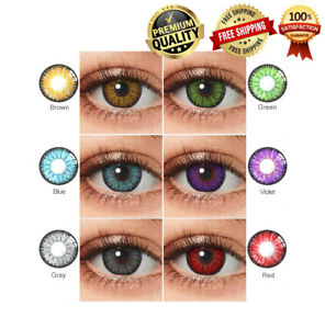 Colored Eye Contact lenses Yearly Color Eyes Care Makeup With Case 1 Pair 2Pcs