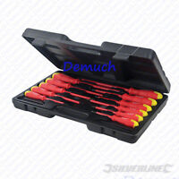 New 11 Pcs Electricians INSULATED SOFT GRIP SCREWDRIVER SET Electrical Tool UK ✔